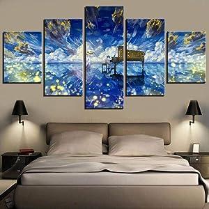 5 piezas de lienzo de impresión de pared Shigatsu Wa Kimi No Uso Dibujos animados Arte decorativo moderno Mano enorme lienzo pintado Paneles de parte completamente enmarcados