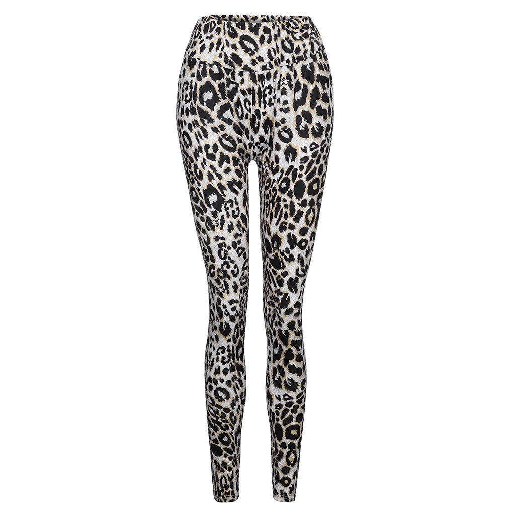 yoyorule Fashion Sports Clothes Women Leopard Print Pants Casual High Waist Leggings Stretch Pencil Trousers
