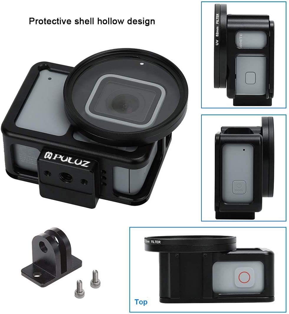 for DJI Gopro Action Camera Color : Black Housing Shell CNC Aluminum Alloy Protective Cage with Insurance Frame /& 52mm UV Lens for GoPro HERO7 Silver //7 White Black