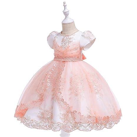 Amazon.com: QZ Vestido de boda de manga corta para niñas ...