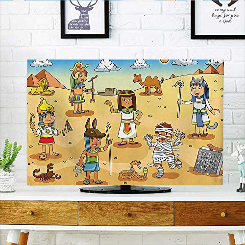 Auraisehome tv dust Cover Illustration of Historical Egyptian Characters with Pyramids Cleopatra King Mummy Child Decor Multi Dust Resistant Television Protector W19 x H30 INCH/TV 32