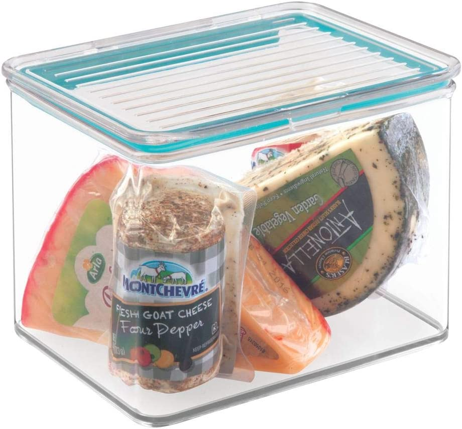 mDesign Airtight Stackable Kitchen Pantry Cabinet Food Storage Container - Attached Hinged Lid - Compact Bin for Pantry, Refrigerator, Freezer - BPA Free, Food Safe - Holds 2 Quarts - Clear