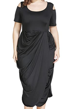 a4f746727 Plus Size Half Sleeve Asymmetrical Draped Ruched Midi Dress for Cocktail  Formal Evening, Black,