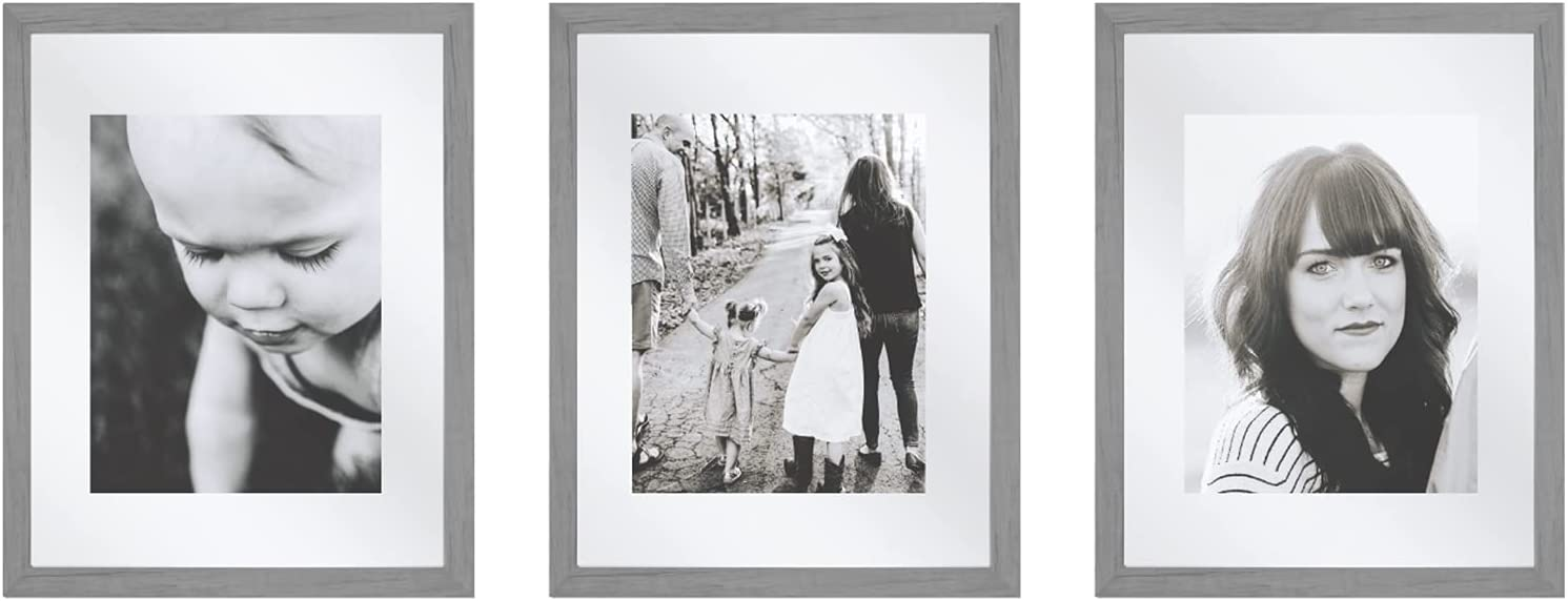 Sheffield Home Decor Collection- 3 Piece Picture Frame Set, Gallery Set, 11x14in, Matted to 8x10in (Grey)
