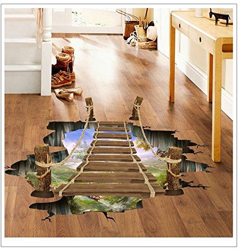 Dangling 3D Suspension Bridge Bedroom Living Room Floor Stickers Pegatinas Paredes Decoracion Vinilo Pared (Copter Shop)