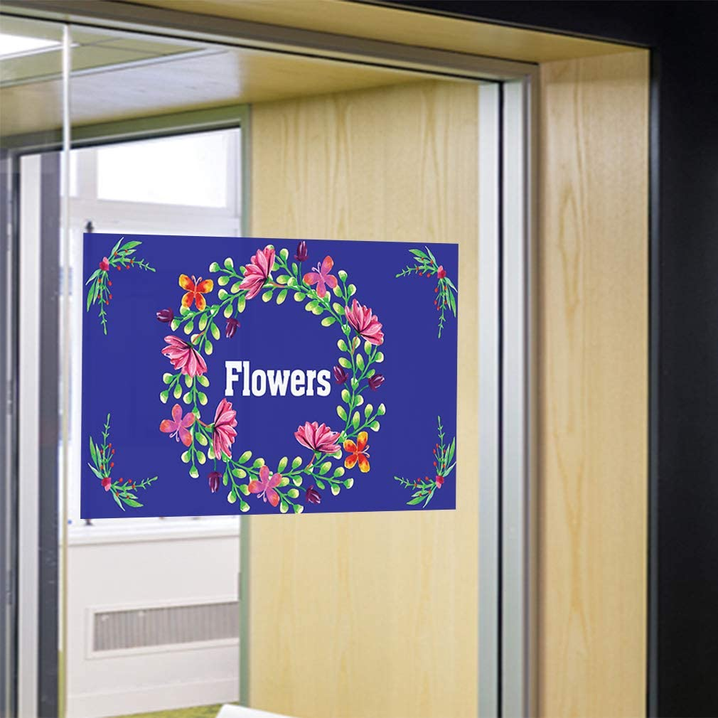 Decal Sticker Multiple Sizes Flowers #1 Style E Retail Flowers Outdoor Store Sign Blue 69inx46in One Sticker