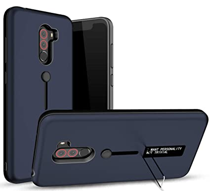 new product 80b68 5e8be Bounceback ® Poco F1 Back Case Cover Shock Proof Ring Stand Back Cover for  Poco F1 - Matte Blue