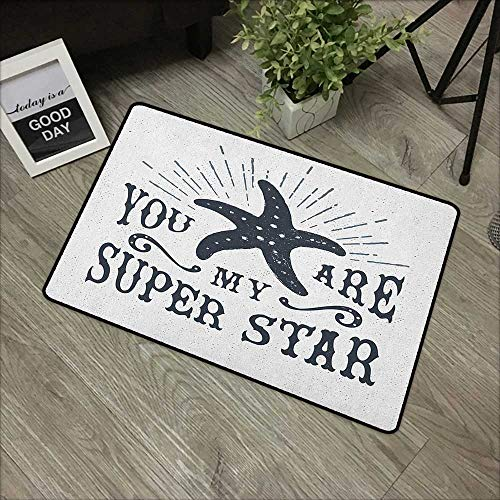 (Hall mat W35 x L59 INCH Starfish,Vintage Retro Symbol Design with Inspirational Authentic Art Drawing Style, Dark Blue White Our Bottom is Non-Slip and Will not let The Baby Slip,Door Mat Carpet)