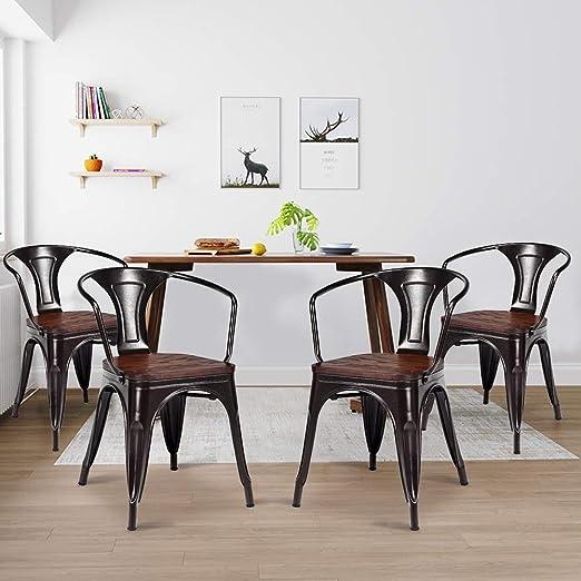 Amazon.com: WaterJoy - Juego de 4 sillas de comedor, estilo ...
