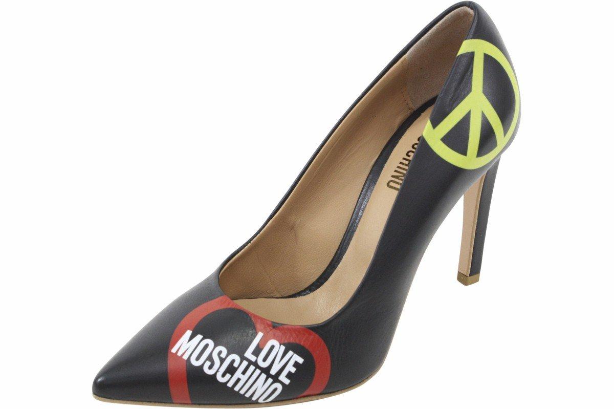 Love Moschino Women's Black Leather Stiletto Heels Shoes Sz: 6