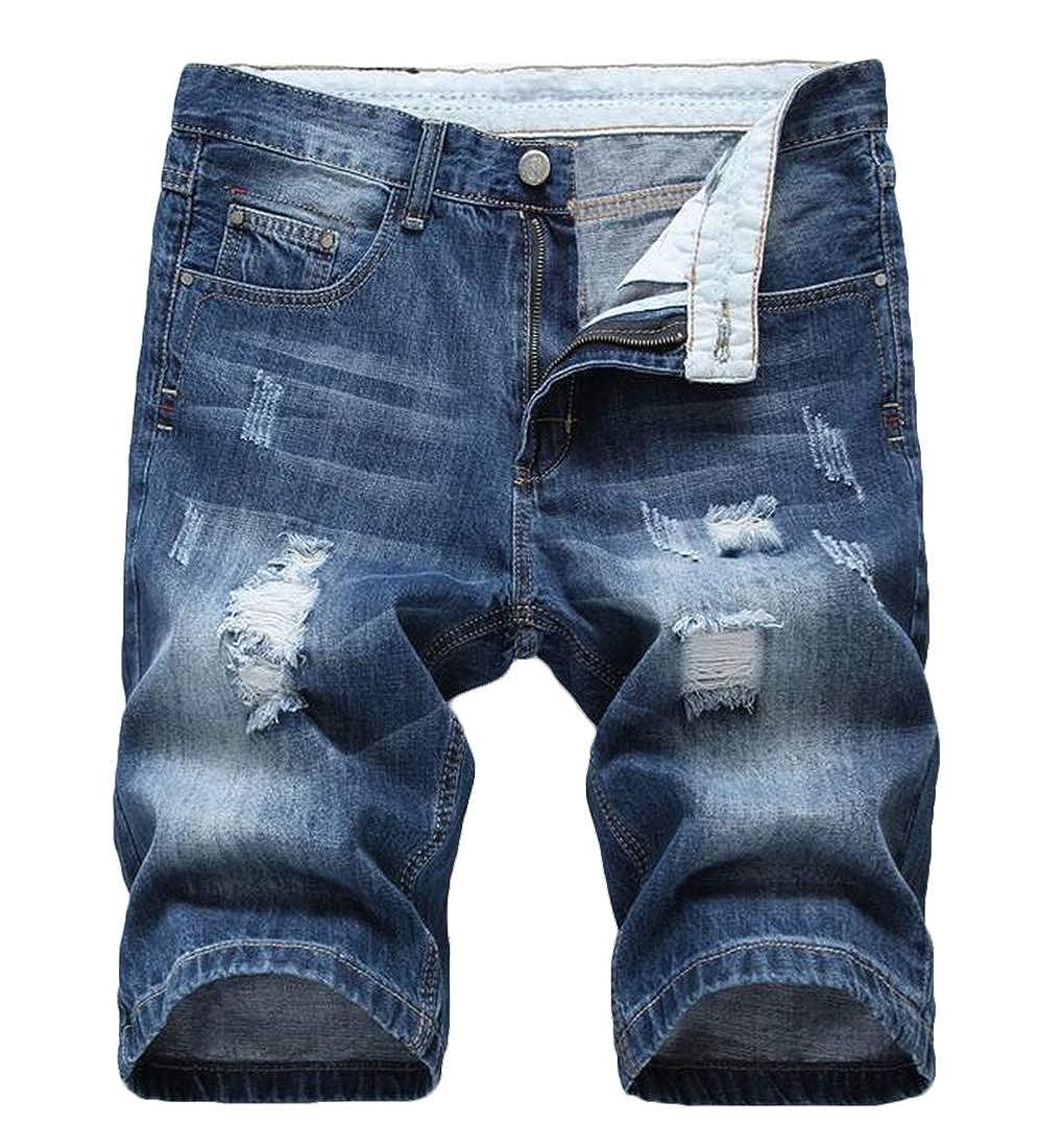 ARTFFEL Men Slim Casual Ripped Knee Length Denim Shorts Jeans