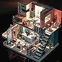 Magic House(マジック ハウス)Coffee shop ドールハウス ミニチュア LEDとオルゴール(Swan Lake) 付属 防塵ケース付属 手作りキットセット