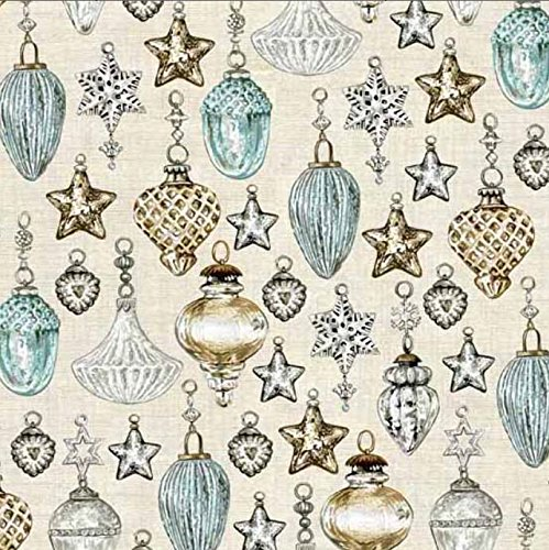 Andover-Makower 'Balmoral' Scottish Glass Christmas Ornaments on Pale Brown Cotton Fabric 44-45 Inches Wide