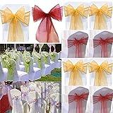 100PCS Organza Chair Cover Sash Bow Wedding Party Reception Banquet Decor SP