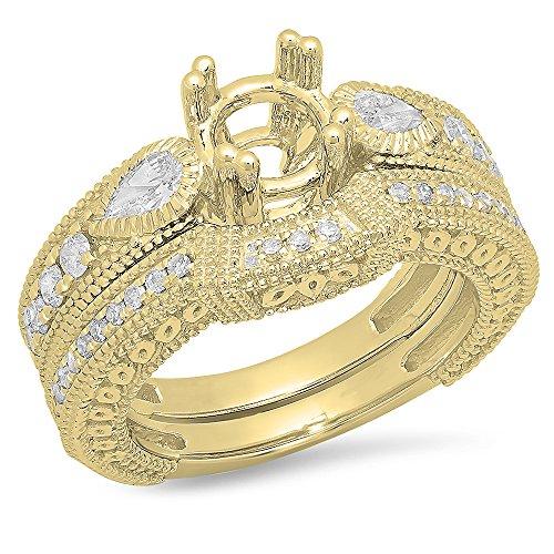 0.90 Carat (ctw) 14K Yellow Gold Pear & Round Diamond Vintage Look Semi Mount Ring Set (Ring Semi Diamond Mount)