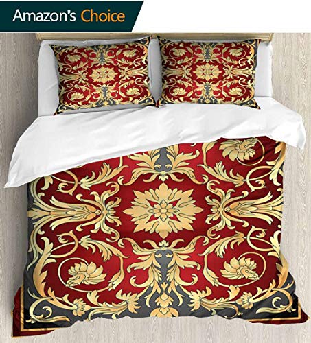 (Turkish Pattern Kids Quilt 3 Piece Bedding Set,Ottoman Spiral Foliage Pattern Frame Filigree Style Royal and Retro with Sham and Decorative 2 Pillows,Full Queen 87