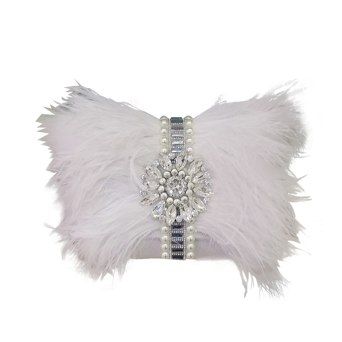 Zakia Real Natural Ostrich Feather Crystal Pearl Center Clutch Shoulder Bag for Wedding Party (white)