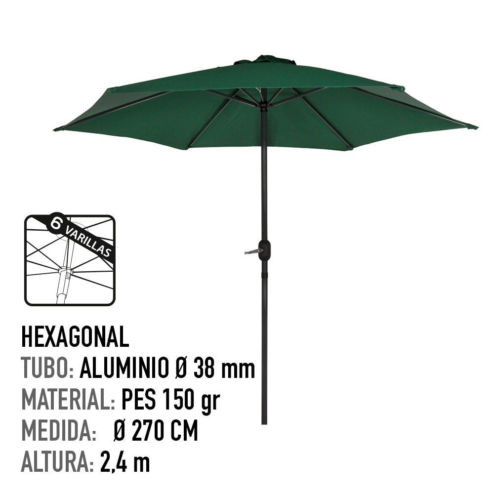 Aktive Garden 53871 - Parasol Hexagonal Diámetro 270 cm, Mástilil ...