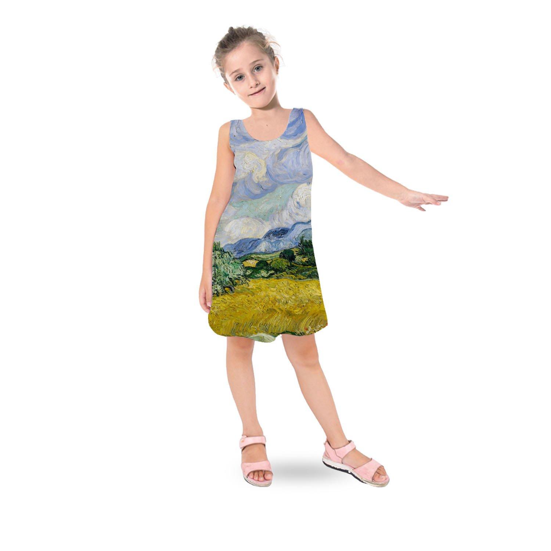 Vincent Van Gogh Fine Art Painting Kids Sleeveless Dress - 6 Flared Girls