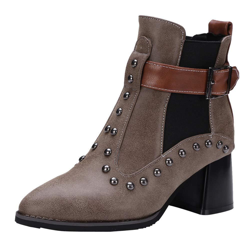RedBrowm-women Retro Martin Shoes Belt Buckle Square High Heel Rivet Short Ankle Boots