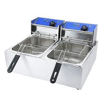 blackpoolal Depósito de 2 12 litros - Freidora eléctrica Acero inoxidable fría zonas fritura con tapa extraíble Control de Temperatura Aero Fryer 2500 W ...