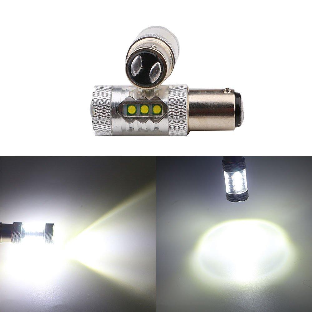 Grandview Ampoules à LED 1156BA15S 80W CREE Chipsets 1920lumens Super Bright blanc voiture LED Ampoule Signal de secours Balise stop Tail Light Ampoules 12V (Lot de 2)
