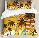 Vintage Hawaii Queen Size Duvet Cover Set by Lunarable, Grunge Surfing Design with Sun Rays Exotic Trees and Beach Abstract Boards, Decorative 3 Piece Bedding Set with 2 Pillow Shams, Multicolor