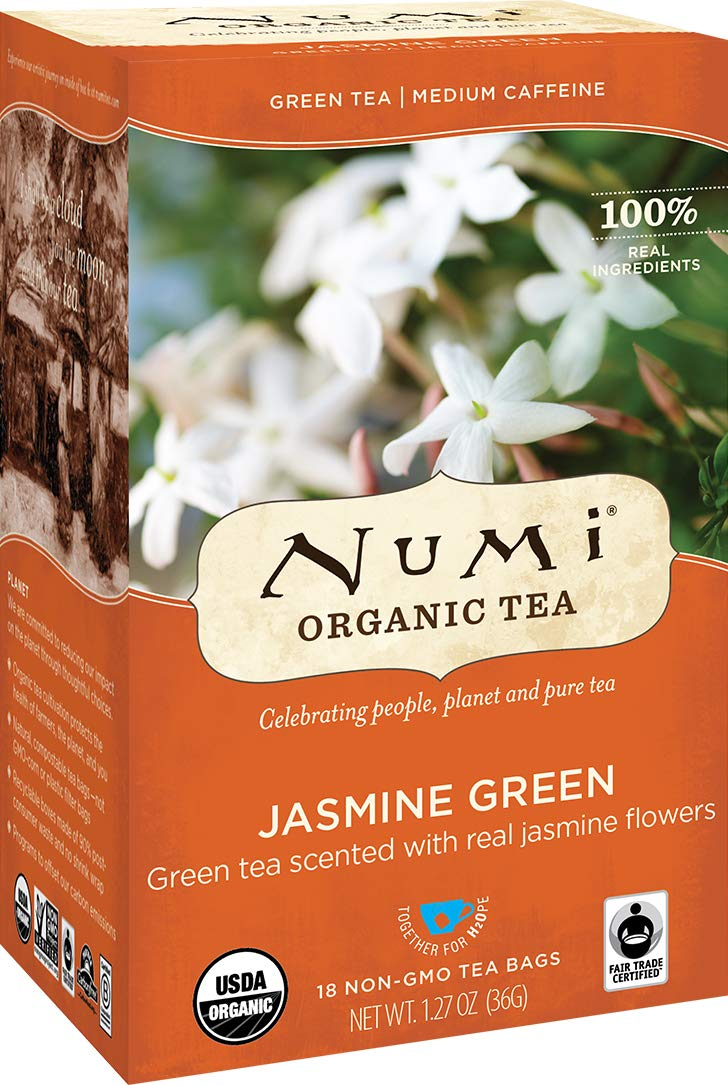 Numi Organic Tea Jasmine Green, 18 Count Box of Tea Bags (Pack of 3) (Packaging May Vary) by Numi