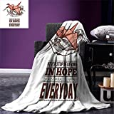 smallbeefly Hope Custom Design Cozy Flannel Blanket Hands Holding an Origami Crane with a Miracles Happen Everyday Quote Lightweight Blanket Extra Big Pale Orange Brown White