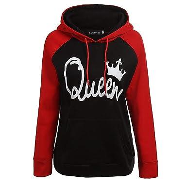 Stephaee P/ärchen Pullover King Queen Sweatshirt Hoodie P/ärchenpullover Damen Herren Pulli