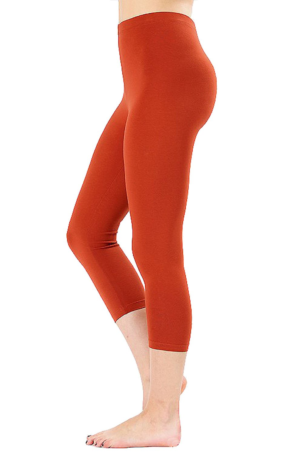 UNU Style Premium Ultra Soft Cotton 15 inch Capri & Regular Capri Leggings (R-Copper, Medium)