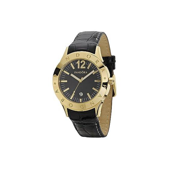 Pandora 812008BK - Reloj analógico de mujer de cuarzo con correa de piel negra: Amazon.es: Relojes