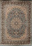 Feraghan/New City Traditional Isfahan Wool Persian Area Rug, 2' x 7', Light Blue/Silver
