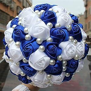 "USIX Handmade Simple Pearl Decor Burgundy Ivory Satin Rose Bridal Holding Wedding Bouquet Wedding Flower Arrangements Bridesmaid Bouquet(Blue Dia 18cm/7x10"") 63"