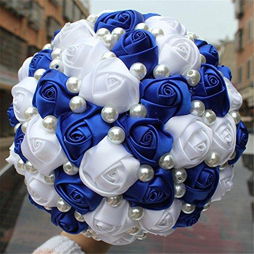 (USIX Handmade Simple Pearl Decor Burgundy Ivory Satin Rose Bridal Holding Wedding Bouquet Wedding Flower Arrangements Bridesmaid Bouquet(Blue Dia 18cm/7x10