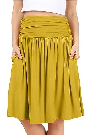d3fe07fca4 Mustard Skirts for Women Yellow Flowy Skirts for Women Skirt with Pockets  Wide Waistband Skirt Mustard