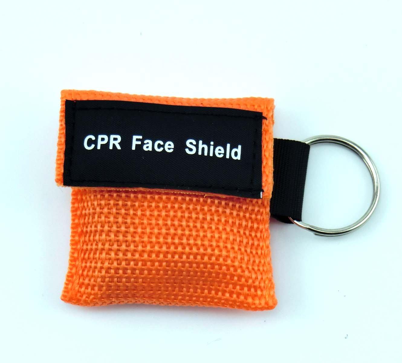 20 pcs Mini CPR Mask Key Chain Kit One-Way Valve Face Mask Key Chains 5 Colour