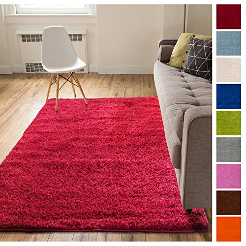 Solid Retro Modern Red Shag 5x7 ( 5' x 7'2'' ) Area Rug Plain Plush Easy Care Thick Soft Plush Living Room Kids Bedroom (Red Area Shag Rugs)