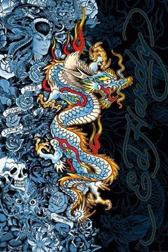 - Buyartforless Ed Hardy Blue Dragon - Life Live Luck 36x24 Tattoo Art Print Poster Skull Roses Blue Lady Hidden Images