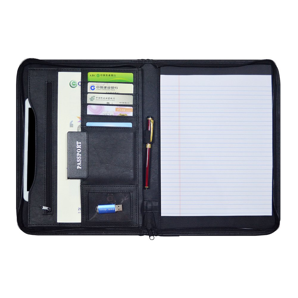Godery Zippered Padfolio Portfolio Binder, Leather Business Portfolio, 8.5 x 11 Legal Pad, Office Supplies Organizer, Black Zippered Pocket, Planners, Resume, Briefcase for Travel and Interview