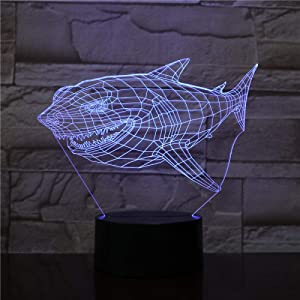 Shark 3D Night Light Variable Light Optical Illusion 3D LED Night Light with USB neon Creative Birthday Gift for Children, Baby Girls, Boys