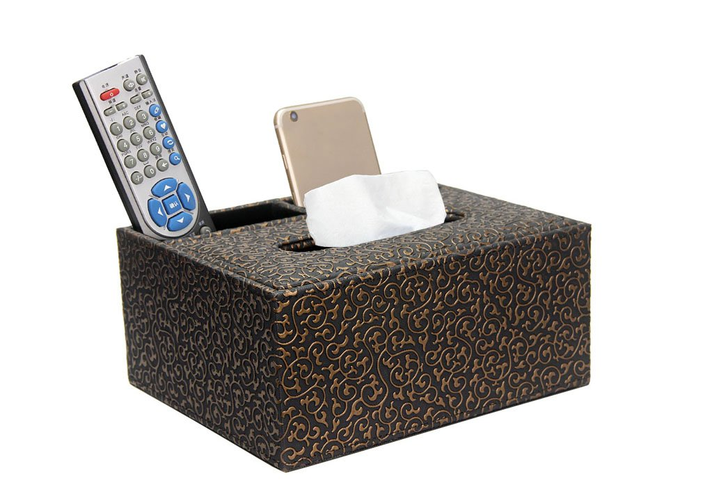 Coordicoorpa-Tissue Box Multifunction Wooden Struction High-Grade PU Leather Tissue Box Cover Holder Desk Storage Box Pen Pencil Remote Control for Office/Hotel/ Home (Victorian Black Gold)