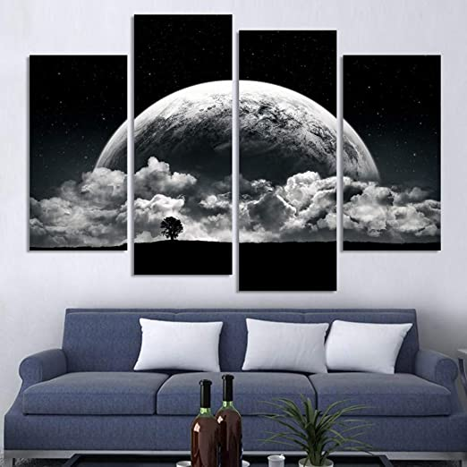 WOKCL Cuadro en Lienzo Blanco y Negro Impreso Planetas ...