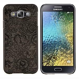 Stuss Case / Funda Carcasa protectora - Negro Marrón Wallpaper Flores - Samsung Galaxy E5 E500