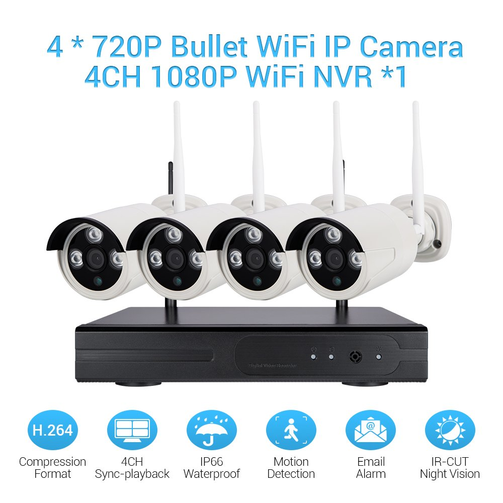 Wireless Camera Security System 1080p 4CH HDMI NVR + 4 Pcs 720P(1.0MP) WiFi CCTV Bullet Cameras HD Night Vision Surveillance Outdoor Indoor Waterproof Easy Remote Access Night Vision by Masione (Image #1)