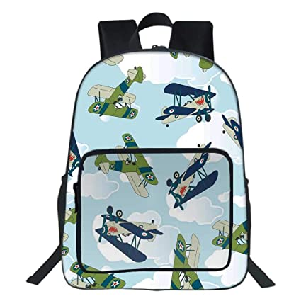 Amazon com | Airplane Decor School Backpack, Vintage Allied