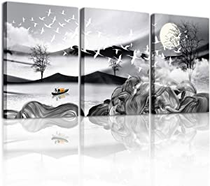 Canvas Wall Art for Living Room Family Wall Decorations for Bedroom Bathroom Wall Decor Black and White Landscape Paintings 3 Piece Wall Pictures Artwork Modern Canvas Art Prints Kitchen Home Decor