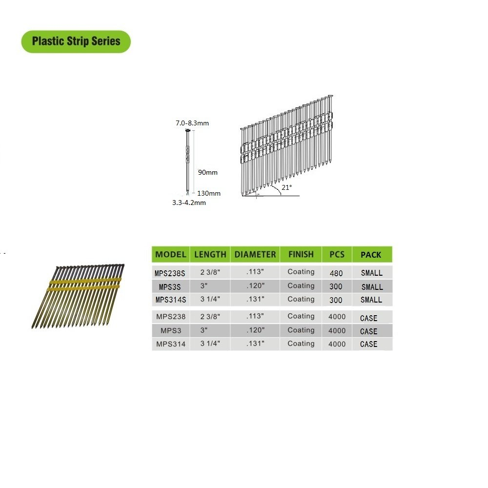 meite MPS238S 21 Degree 2-3/8'' x 0.113'' Plastic Strip Round Head Galvanized Smooth Shank Framing Nails, 480 PCS/PACK