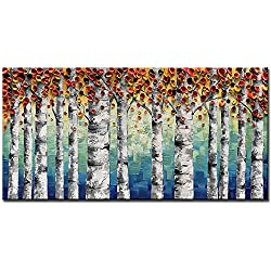 Okbonn-Orange Brich Forest Oil Painting on Canvas Wall Art Hand Painted Modern Large Home Decor Abstract Artwork Stretched and Framed for Living Room Bedroom Dinning Room Office Wall Decor(24X48 Inch)