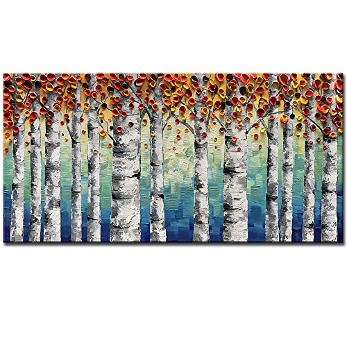 (Okbonn-100% Hand Painted Oil Painting On Canvas Orange Forest Wall Art Textured Artwork Pictures Framed Stretched Wall Decor Ready To Hang For Living Room Bedroom Dinning Room (20X40)